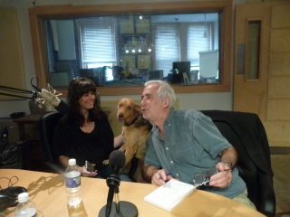 Kelly and ian Dunbar in the studio, with our dog Ethel chiming in